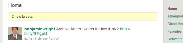 Twitter tweet recorded